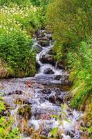 agua corriente de un pequeño arroyo o cascada, vang, noruega foto