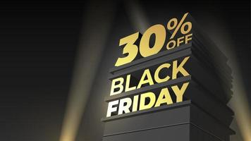 Illustration for sale BLACK FRIDAY with volumetric letters, building and spotlight. 30 thirty percent OFF. Vector template for flyer, discount, shop, business, cards, promo, advertising.