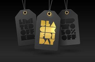 Vector template with price tags and foil letterpress BLACK FRIDAY. Illustration with text SPECIAL OFFER DISCOUNTS UP TO 50 fifty percent for banner, flyer, business, ad, card, shop.