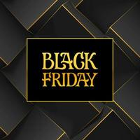 Golden handwritten lettering sign and logo Black Friday on dark geometric background with 3d cubes. Template for poster, cards or promotional banners for social media. vector