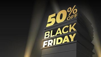 Illustration for sale and discount BLACK FRIDAY with 3d letters, building and spotlight on night sky background. 50 fifty percent OFF. Vector template for flyer, shop, business, promo, advertising.
