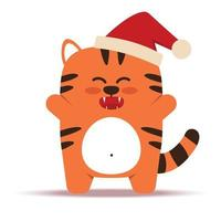 Cute little orange tiger cat in a flat style. The symbol of the Chinese New Year 2022. Animal with a Christmas cap. The joyful tiger is standing. For banner, nursery decor. Vector illustration.