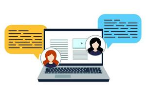 Internet technology. Distance education. Home office concept. Online study, class, education. Work on the computer, laptop. Communication via a social network, media marketing. learning icon. vector
