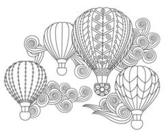Hot air balloons in doodle style. Coloring book page for adult and older children vector
