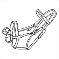 Horse harness bridle for riding vector illustration in line style for coloring book