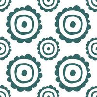 stylized flower - seamless background for printing on fabric. childish flower in flat style. chamomile plant vector