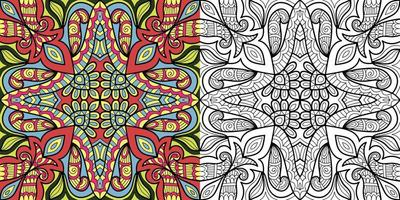 Mandala design colouring book page for adults illustration vector