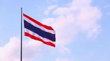 Thai national flag on pole waving in the wind sky background. video