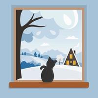 Window with Cat and Winter Countryside Landscape vector