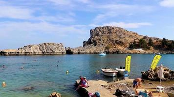 St Pauls Bay panorama with clear water Lindos Rhodes Greece. video