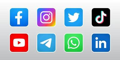 Set of social media icon with line vector