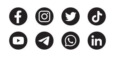 Set of social media icon in round bakground vector