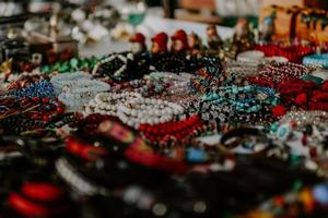 Selective focus shot of accessories in the jewelry market photo