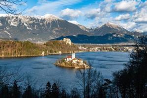Aerial shot of Bled Lake, Slovenia photo