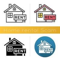 Home rental scam icon vector
