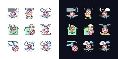 Drone restrictions light and dark theme RGB color manual label icons set vector