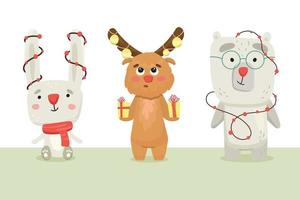 cute hare, bear and elk are preparing for the new year vector