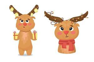 cute elk and deer in christmas clothes vector