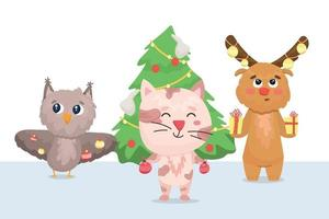 owl, kitten and elk decorate the christmas tree vector
