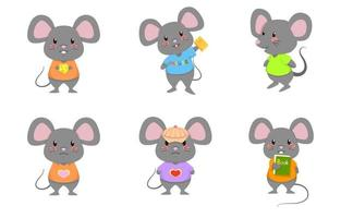 Cute Mouse Rat Mice Standing Vector Cartoon Set