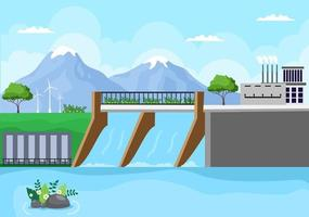 Ecological Sustainable Energy Supply Background Vector Flat Illustration Power Plant Station Buildings With Solar Panels, Gas, Geothermal, Renewable, Water and Wind Turbines
