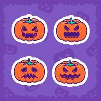 Cute Pumpkin and happy halloween stickers pack vector