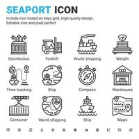 Seaport icon set design outline style isolated on white background. Vector icon marine port, logistic sign symbol concept for shipping industry, freight vessels, Marine port, website, ui and project