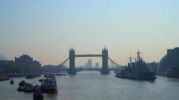 London Tower Bridge with Thames River video