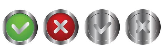 Check mark vector button in modern neumorphic design. Checkmark icon 3d three-dimensional. yes no buttons. vote and choise illustration. isolated button set white background