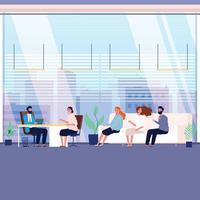 candidatos de la agencia de reclutamiento oficina de trabajo búsqueda de cabezas contratación ilustración plana de dibujos animados vector