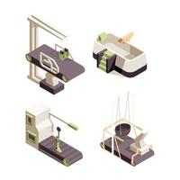 Rehabilitation hospital healthcare center doctor showing exercise disabled person physician assistant isometric vector