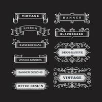Retro horizontal banners ribbon flourish ornate frame decoration vintage collection vector