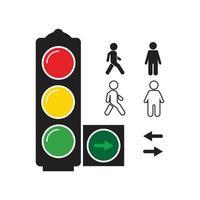 Set stylized illustrations traffic light with symbols vector