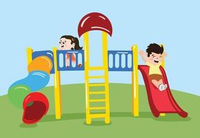 Swings for kids to play in public park. Outdoor activity for children. vector