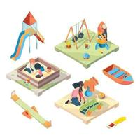 Playground isometric view place funny kids games vector