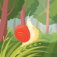 Slime slow moving green grass wood nature animal garden snail illustration vector