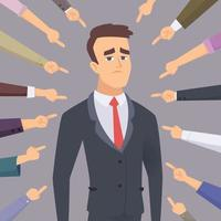 Problem man pointing businessman ashamed guilty conflict foolish people fear employee concept vector