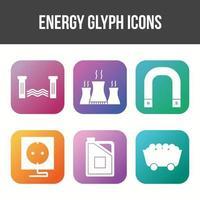 hermoso conjunto de iconos de vector de energía única