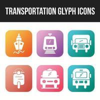 Beautiful Transportation unique glyph 6 icons set vector