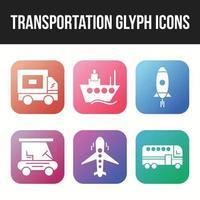 Transportation icon set of unique glyph icons vector