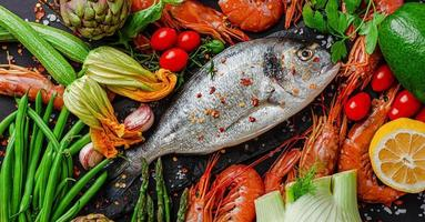 Healthy eating concept. Raw dorado fish with fresh vegetables. Flat lay. photo