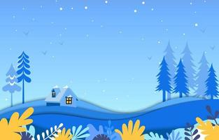 Winter Landscape Background With Floral Elements. Landscape winter view background in blues with snowfall on the house and trees vector