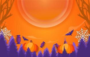 Trick or Treat Halloween Background. Landscape view background with big moon in orange and purple includes halloween elements pumpkins, bats, spider webs and candies vector