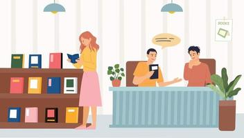 Book store and people. A woman reading a book by the bookshelf and a man talking about a book at the table. flat design style vector illustration.