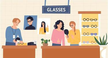 People and clerk choosing glasses in an optician's shop. flat design style vector illustration.