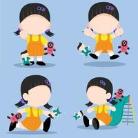 cute and adorable mascot playing at playground vector