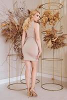 Hermosa mujer de moda caucásica en vestido beige interior foto