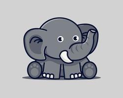 Elephant Sitting Cute Cartoon Vector Icons Illustration. Animal Nature Icons Vector Concept, Flat Cartoon Style