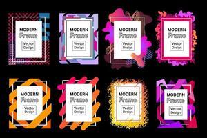 Conjunto de marcos vectoriales modernos. colección de vibrantes marcos de arte en forma de rectángulo con salpicaduras fluidas y elementos de diseño geométrico. fronteras de arte moderno abstracto, espacio de copia para el texto. vector