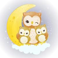 Adorable mom and baby owl illustration in watercolor vector